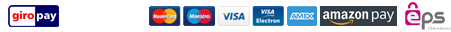 Credit cards/Paypal/Bank transfer/GiroPay/iDEAL/Amazon Pay
